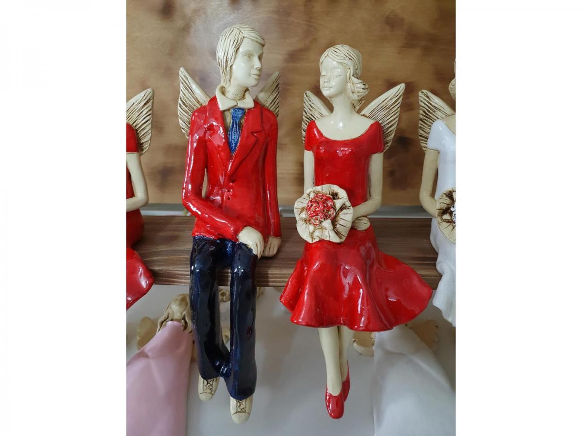 Anioły Para Czerwone 20 X 9 Cm Figurka Dekoracyjna Gipsowa